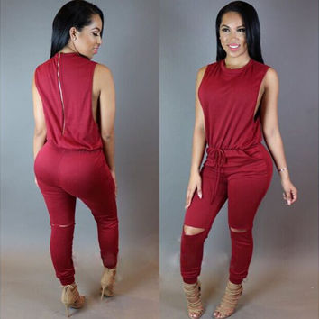 Sleeveless Zipperred Drawstring Waist Jumpsuit