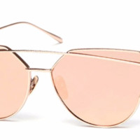 'Rush' Cat-Eyed Shades - Gold/Pink