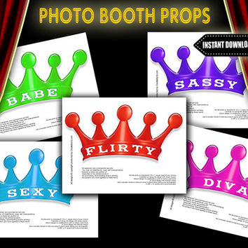 Colorful Crown Photo Booth Props - INSTANT DIGITAL DOWNLOAD