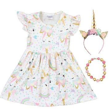 Unicorn Dress White Gold Rainbow