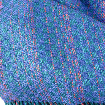 Checkerboard Scarf, Loom woven Women's Accessory, Cobalt and Green Scarf