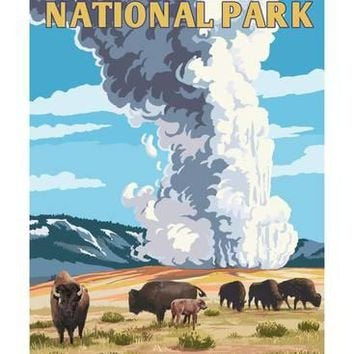 Yellowstone National Park - Old Faithful Geyser and Bison Herd Art Print by Lantern Press at Art.com