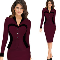 Maroon Long Sleeve Top and Pencil Skirt