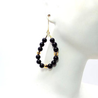 Black Onyx and Gold Teardrop Hoop Earrings – Black and Gold Beaded Hoop Earrings – Black and Gold Earrings