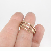"RING ""Architect"" in 14K Yellow or Rose Gold. Modern, Minimalistic. Hammered, Forged, Stackable."