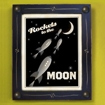 Rocket Art Rockets to the Moons Kids Framed Space Art by DexMex