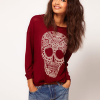 ASOS Jumper in Loose Knit with Henna Skull at asos.com