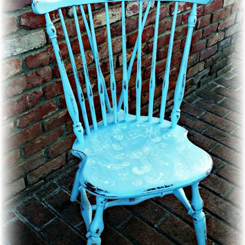 Vintage shabby chic accent chair, beachy cottage chair, handpainted blue chair, solid wood chair! Paisley, rustic, country cottage,