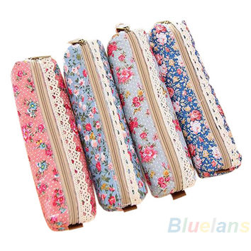 Classic Mini Retro Flower Floral Lace Pencil Shape Pen Case Cosmetic Makeup Make Up Bag Zipper Pouch Purse