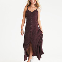 AEO Strappy Button-Front Maxi Dress, Burgundy