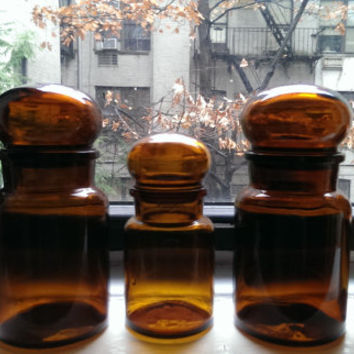 Amber Apothecary Bottles with Bubble Glass Tops, Belgium Glass Jars, Vintage Amber Glass