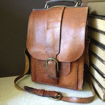 Vtg Artisan Chestnut Brown Leather Crossbody Messenger Handbag // Mini Briefcase
