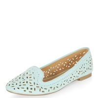 Wide Fit Mint Green Laser Cut Out Slipper Shoes