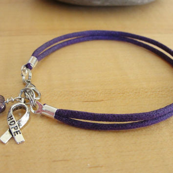 Purple Cotton Awareness Bracelet / Anklet - ADD, ADHD, Alzheimers, Crohn's, Fibromyalgia, Huntington's, Lupus, Thyroid Cancer & More