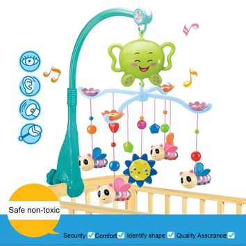 12 Music Melody Musical Crib Mobile Bed Cot Bell Baby Rattle Rotating Bracket Holder Rattle Toys for 0-12 Months Newborn Kids