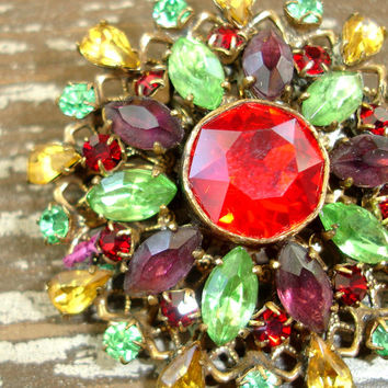 Vintage Rhinestone Brooch Pendant, Multicolor Crystal Gold Tone Filigree Pin, Mid Century Flower or Wreath, Estate Jewelry, Costume Jewelry