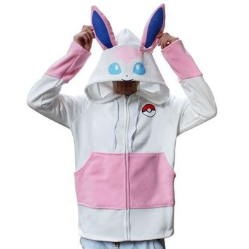Cartoon Hoodies Day Ibero and Fairy Ibera Velvet Thickening Sweater Jacket Pink Purple Totoro CosplayKawaii Pokemon go  AT_89_9
