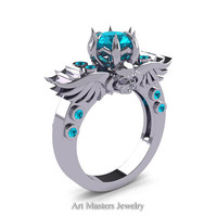 Art Masters Classic Winged Skull 10K White Gold 1.0 Ct Blue Zircon Solitaire Engagement Ring R613-10KWGBZ