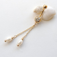 Pearl Dangle Belly Button Ring, Pearl Navel Ring, Long Dangle Belly Button Ring, Sexy Body Jewelry, Belly Button Jewelry. 539