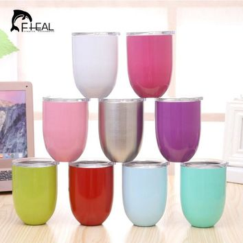FHEAL 10oz Double Wall Wine Glass Insulated Metal Stainless Steel Tumbler With Lid Rambler Cooler Wine Mugs
