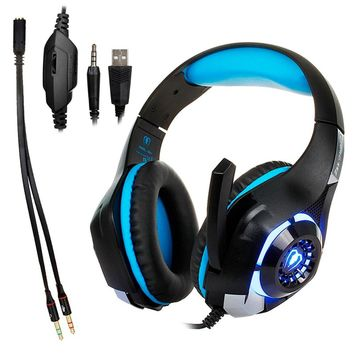 3.5mm Gaming Headphone stereo Gamer PC Ear phones computer Game Headset with microphone for Xbox One PS4 playstation 4 laptop