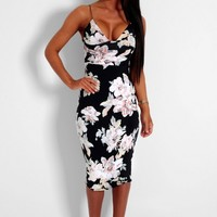 Marta Black & Floral Spaghetti Strap Midi Dress | Pink Boutique