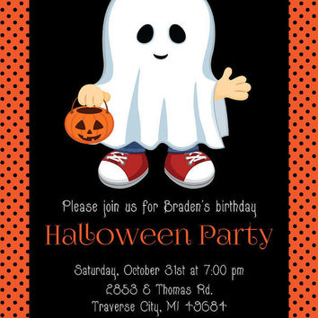 Halloween Birthday Invitation • Printable Kids Halloween Invitation • Print Your Own Ghost Birthday Party Invite