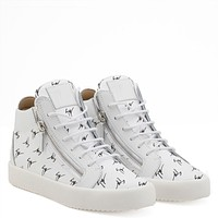 Giuseppe Zanotti Gz The Signature White Fabric Mid-top Sneaker With Black Logo Motif-1
