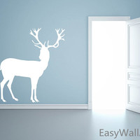 Deer Wall Decal, Deer Wall Decor, Standing Deer Vinyl Wall Art Stickers, Forest Animals Wall Decal for Nursery & Home, Hunting Decor #A27