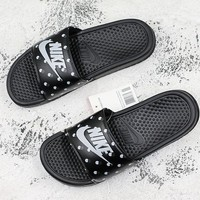 Nike Benassi Swoosh Black White Point Slide Sandal Slipper - Best Deal Online