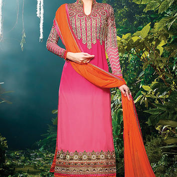 Pink and Orange Embroidered Straight Cut Suit