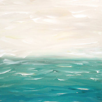 Seascape Abstract Coastal Blue Original Painting 16 x 20 Coastal Waves Ocean Landscape Modern Art Contemporary Painting Stretched Canvas
