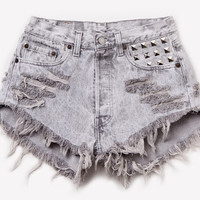 904 Vintage Acid Wash Studded Shorts