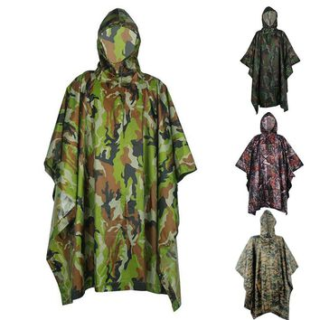 Men Women Motorcycle Rain Poncho for Camping Fishing NEW Multifunction Military Impermeable Camo Raincoat Waterproof Rain Coat