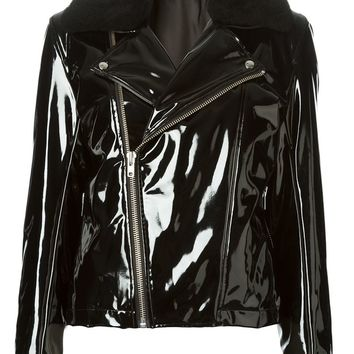 Wanda Nylon shearling collar biker jacket