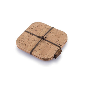 Cork Fabric Coasters, Set of 4.