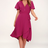 Rise to the Occasion Magenta Midi Wrap Dress