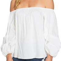 CECE Off the Shoulder Balloon Sleeve Top Ultra White $79