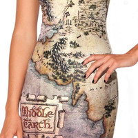 Middle earth map sleeveless mini dress size medium