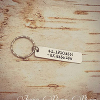 Custom Latitude Longitude Keychain - Hand Stamped - Personalized - Long Distant Friend - Destination Wedding - Anniversary Gift - Going Away