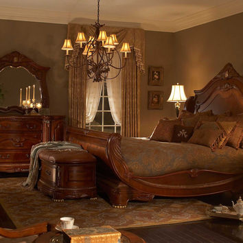 AICO Cortina Sleigh  Cal King Bedroom Set by Michael Amini
