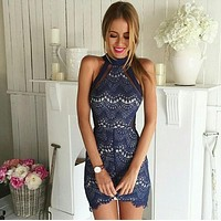 Sexy Lace Embroidery Off Shoulder Tight Halter Mini Dress