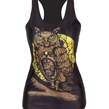 Comfortable Beach Summer Sexy Bralette Hot Strong Character Owl Print Stylish Slim Tops Vest [6049102849]