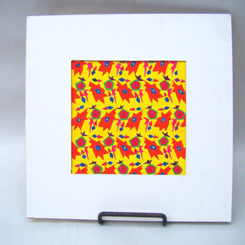 Original 5 x 5 Abstract Floral Painting in Yellow Orange Red and Green Gouache Small Wall Size