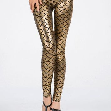 Golden Metallic Scales Leggings