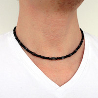 Rocker black necklace glass grey stone hematite unisex men women made to order