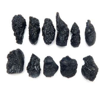 Tektite Mineral 02 - Black Rough Nugget (1-1.75 Inches, Set of 11)