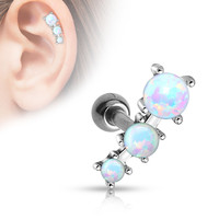 Triple White Opal Tragus Cartilage Helix  316L Surgical Steel  Barbell 16ga Body Jewelry