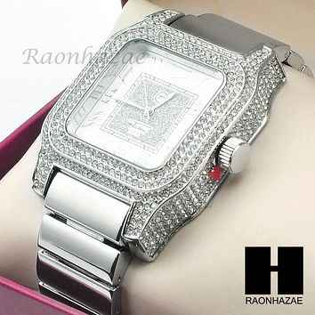 Mens Techno Pave Hip Hop Iced Out Bling Diamond 14K White Gold Plated Watch G191