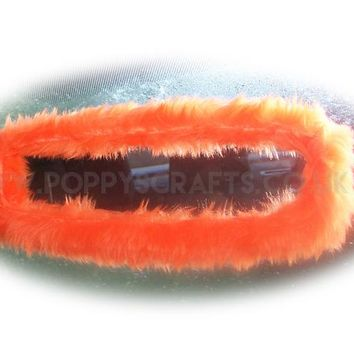 Tangerine Orange faux fur rear view interior car mirror cover